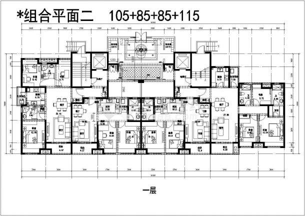 某城市高层建筑户型及组合平面设计施工CAD图纸-图二
