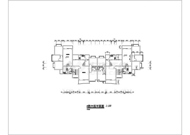某城市高层建筑点式户型设计施工CAD图纸-图二