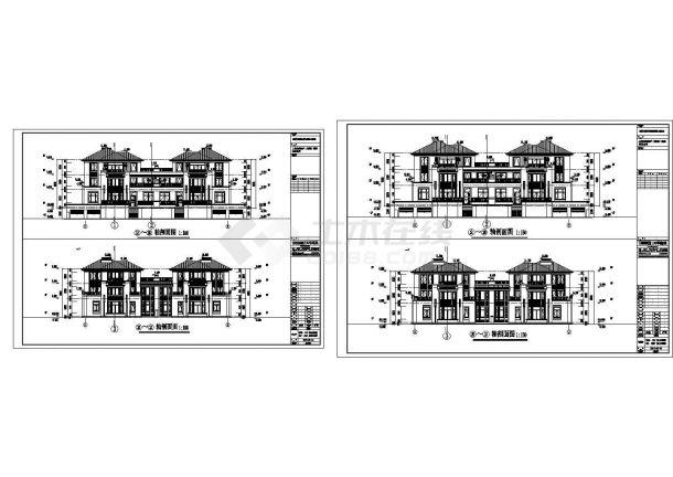 某城市联排建筑双拼墙身户型设计施工CAD图纸-图二