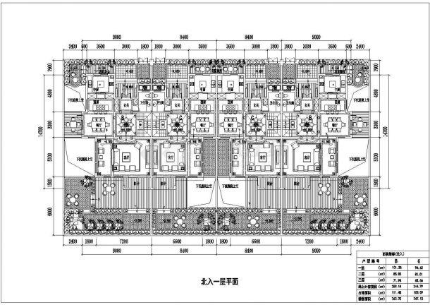 某城市联排建筑四拼联排户型设计施工CAD图纸-图一