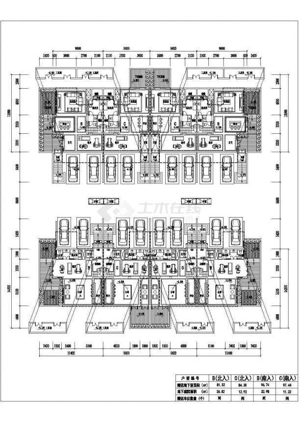某城市联排建筑四拼联排户型设计施工CAD图纸-图二