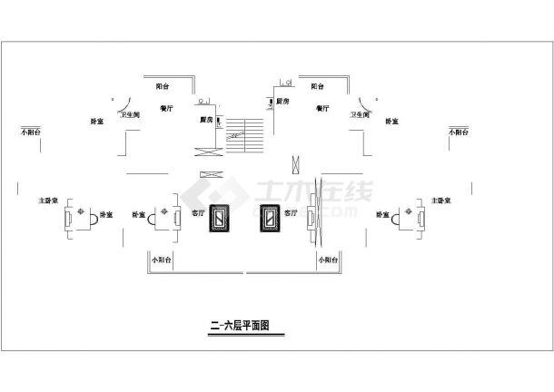 镇江市江心路某单位家属院住宅楼的标准层平面设计CAD图纸(6张)-图一
