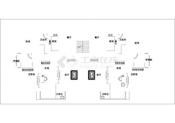镇江市江心路某单位家属院住宅楼的标准层平面设计CAD图纸(6张)-图二