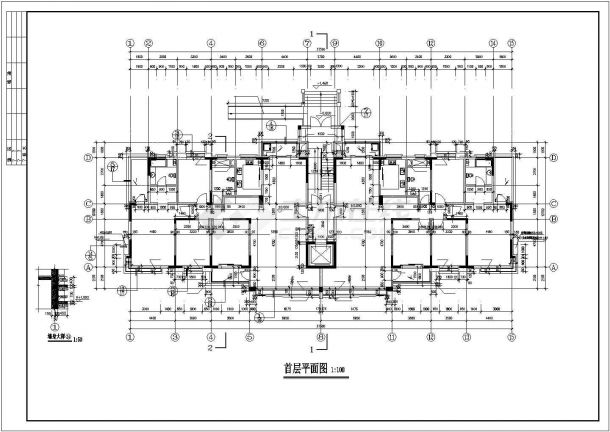 西安市解放小区11层框架住宅楼建筑设计CAD图纸(含跃层和半地下室)-图一
