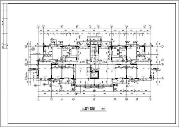 西安市解放小区11层框架住宅楼建筑设计CAD图纸(含跃层和半地下室)-图二
