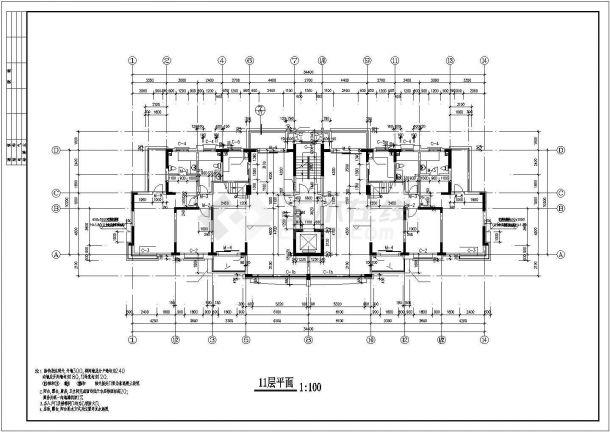 沈阳市云锦城小区12层框架结构住宅楼建筑设计CAD图纸(含地下室)-图二