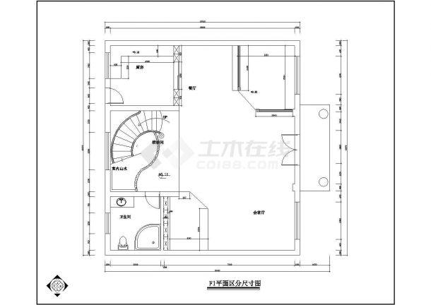 宁波市某地别墅精装修设计规划施工cad图纸,共一份资料-图二