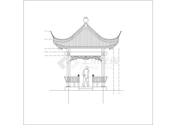 某地区旅游产业古建四角亭设计施工CAD图纸-图一