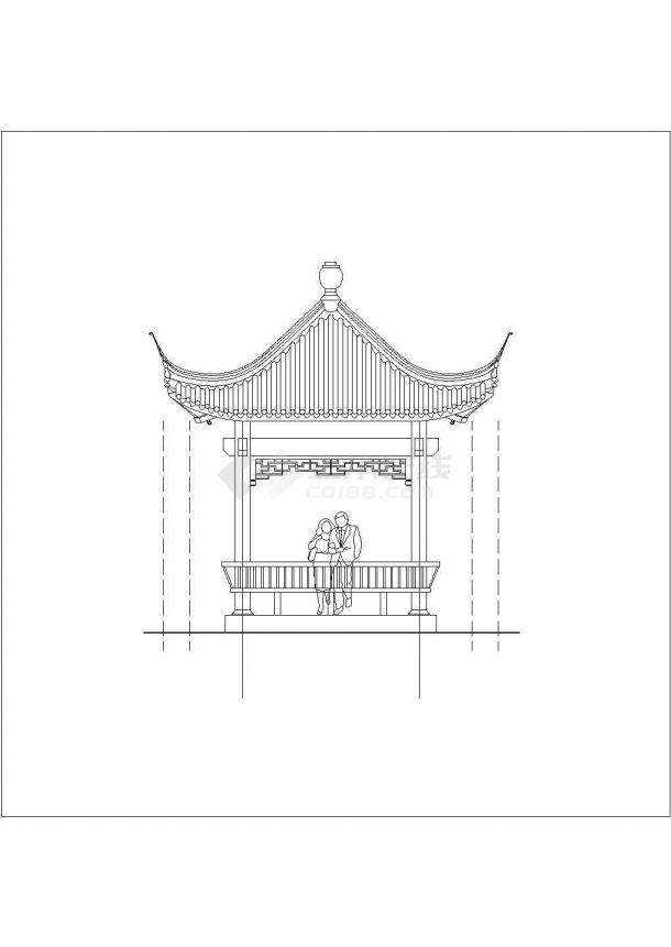 某地区旅游产业古建四角亭设计施工CAD图纸-图二