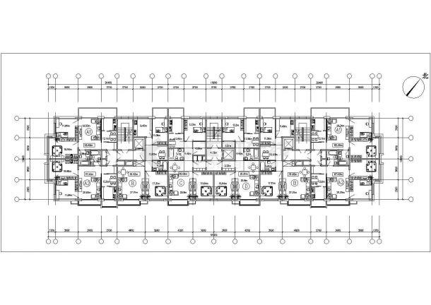 苏州市吕阳花园小区住宅楼的标准层平面设计CAD图纸(4张)-图二