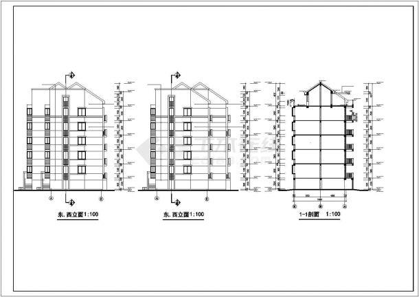 昆明市日澄花园小区4600平6层砖混结构住宅楼建筑设计CAD图纸(含夹层)-图一