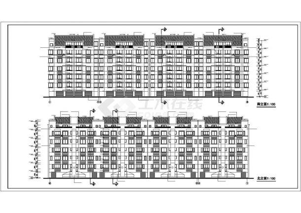 昆明市日澄花园小区4600平6层砖混结构住宅楼建筑设计CAD图纸(含夹层)-图二