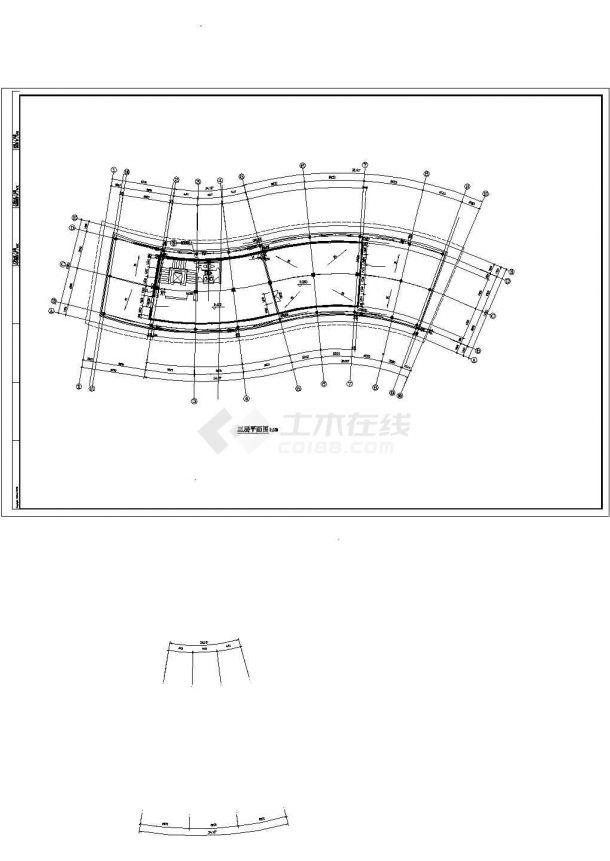 银川市荣誉铂庭小区三层框架结构小区会所建筑设计CAD图纸(含夹层)-图一