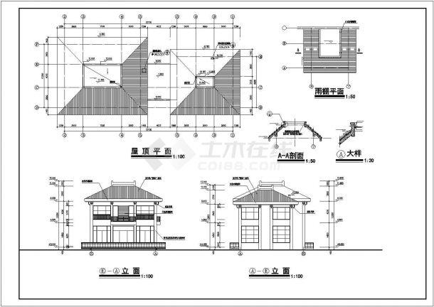 无锡阳光水岸小区680平米2层两栋联立式休闲会所全套建筑设计CAD图纸-图一