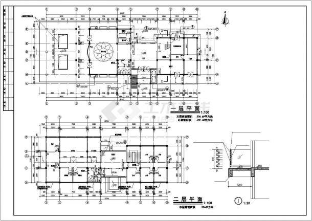 无锡阳光水岸小区680平米2层两栋联立式休闲会所全套建筑设计CAD图纸-图二