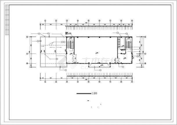 五层小学多功能教学楼设计建筑施工cad图,共十一张-图一
