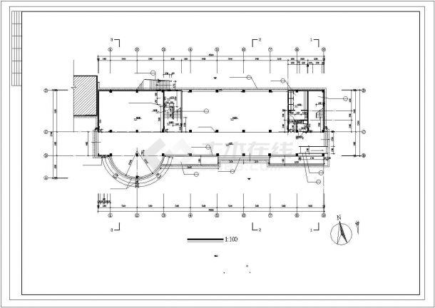 五层小学多功能教学楼设计建筑施工cad图,共十一张-图二