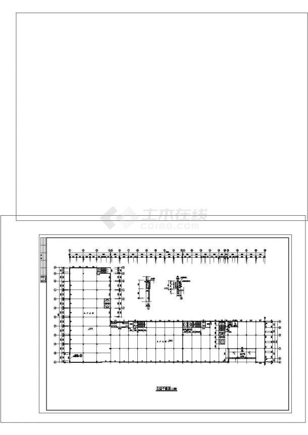 5层L型有限公司生产大楼建筑施工图cad-图二