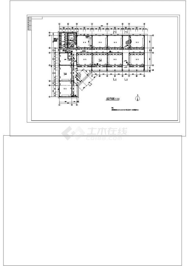 6层6970平米L形框架结构教学楼建筑施工CAD图纸设计-图二
