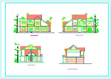 某二层坡屋顶独栋别墅建筑方案cad设计图-图一