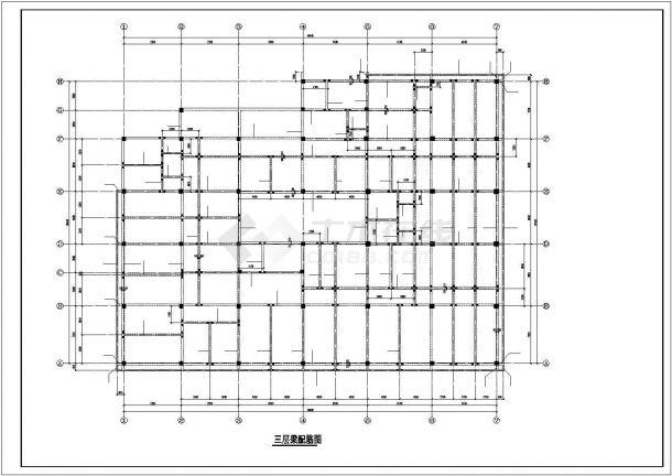 某地区五层教工活动中心钢筋混凝土框架结构设计施工CAD图纸-图二