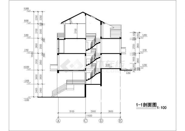苏州市巴蜀家园小区三层砖混结构单体住宅楼建筑设计CAD图纸-图一