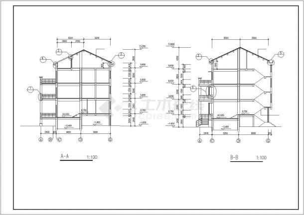 台州新苑村三层砖混结构乡村别墅建筑设计CAD图纸(含地下室和跃层)-图一