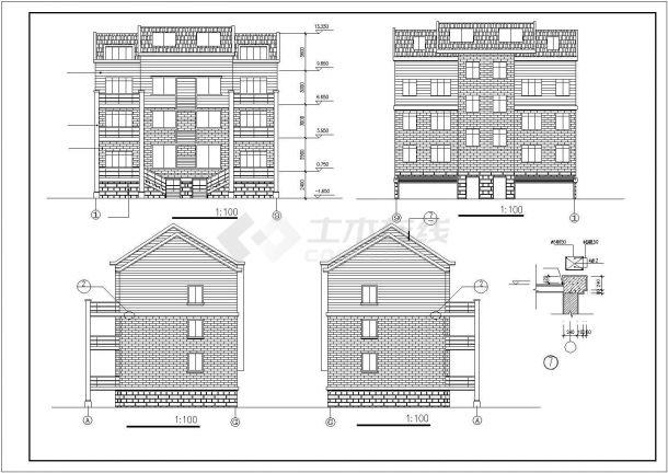 台州新苑村三层砖混结构乡村别墅建筑设计CAD图纸(含地下室和跃层)-图二