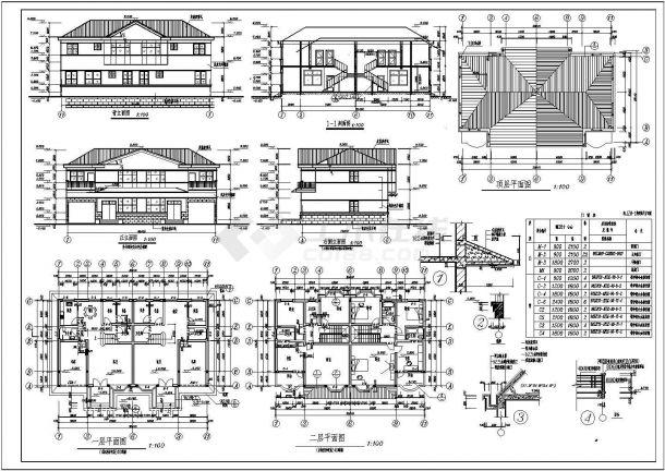 某两层双拼别墅建筑设计方案图-图一