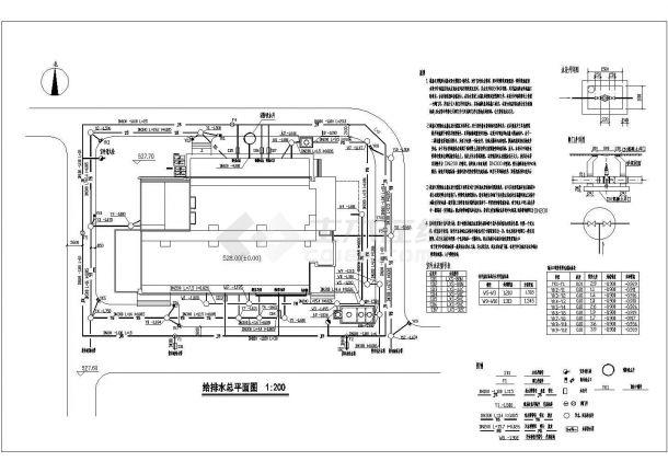 办公楼设计_某地区高层办公楼给排水设计cad全套施工图纸(含设计说明)-图一
