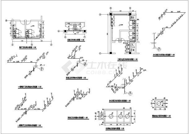 办公楼设计_某地区高层办公楼给排水设计cad全套施工图纸(含设计说明)-图二
