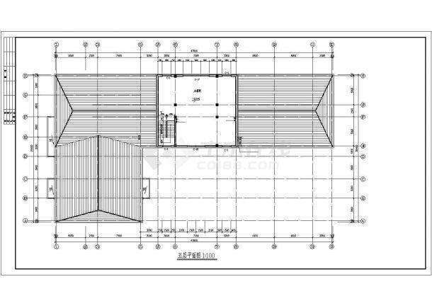 办公楼设计_某公司五层砖混结构办公楼设计cad全套建筑施工图(甲级院设计)-图二