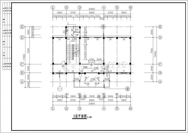 兴宁市福兴花园小区730平米3层框架结构社区活动中心建筑设计CAD图纸-图二