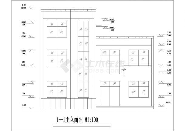 杭州市水泉新村三层砖混结构私人民房住宅楼建筑设计CAD图纸-图二