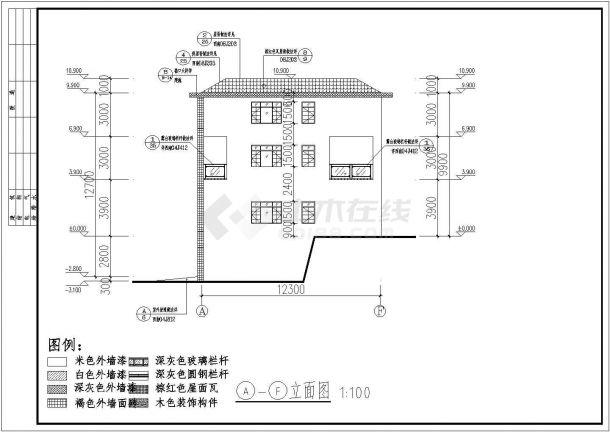 贵州某三层独栋别墅建筑CAD图-图一
