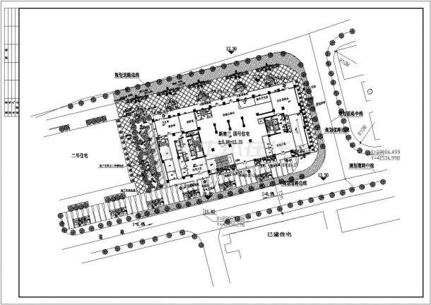 某高尚住宅楼景观环境设计cad总平面施工图纸-图一