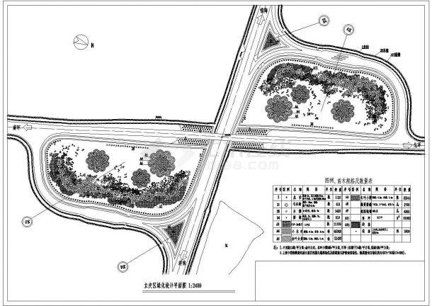某高速立交桥绿化规划设计cad总平面施工图纸-图一