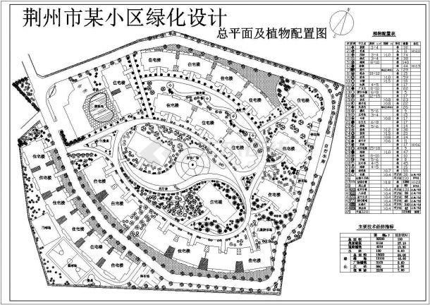 荆州某小区绿化规划设计cad施工总平面图(含技术经济指标)-图一