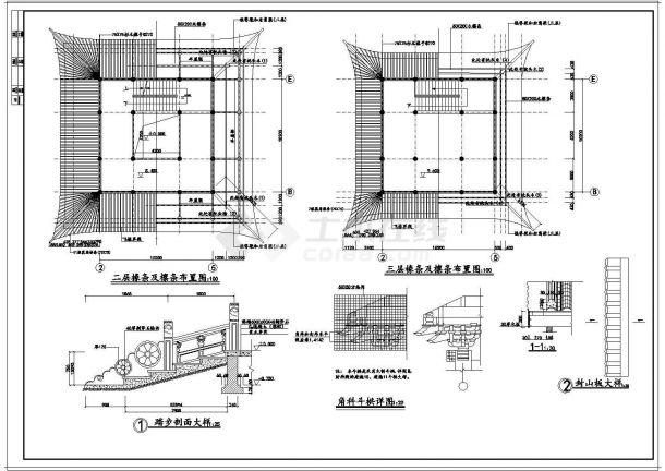 文昌阁古建筑施工设计CAD图-图二