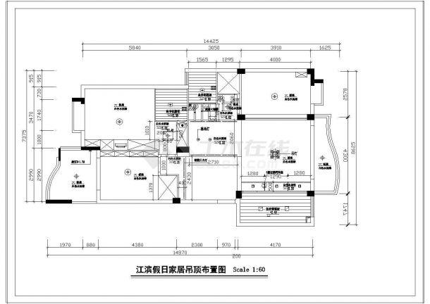 [江滨]某大户型家居平面装修设计施工cad图纸-图一