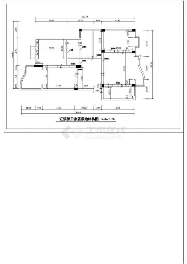 [江滨]某大户型家居平面装修设计施工cad图纸-图二