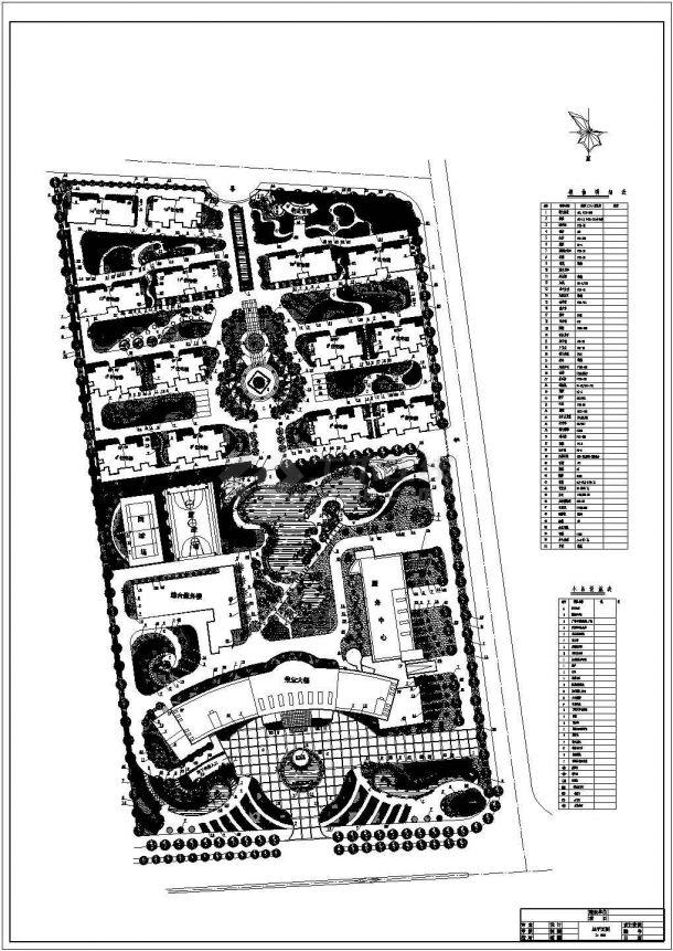 某高档居民小区景观绿化规划设计cad总平面施工图纸-图一