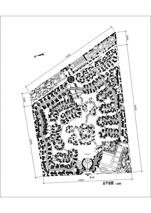 某现代高档别墅住宅区景观规划设计cad总平面施工图-图一