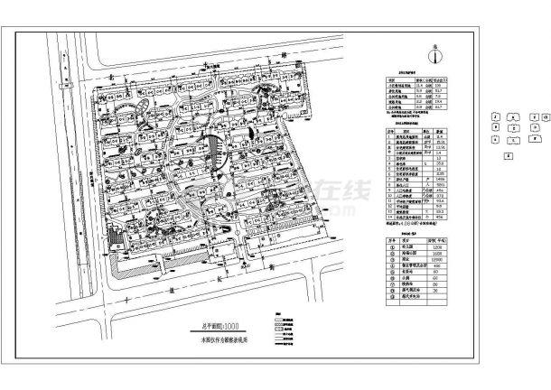 某大型多层住宅小区景观规划设计cad施工总平面图(含经济技术指标)-图一