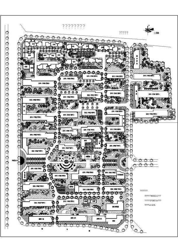 某长方形地块高品质住宅区规划设计cad总平面施工图(含经济指标)-图一