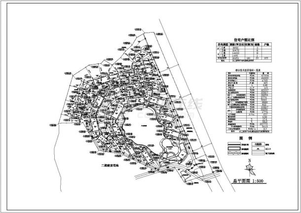 衢州市三盛花园小区总平面规划设计CAD图纸(占地4.7万平米)-图一