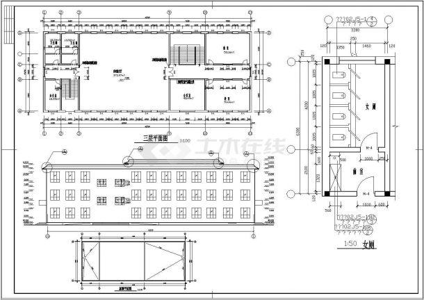 某三层砖混结构综合教学楼建筑设计cad方案图(高11米)-图二