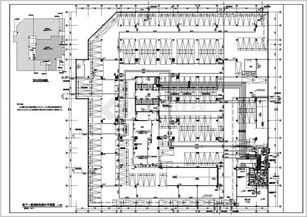 办公楼设计_某剪力墙结构高层办公楼给排水设计cad全套施工图(含设计说明,含消防设计)-图一
