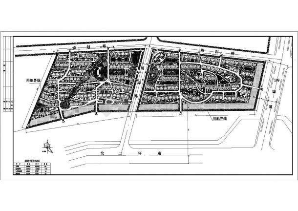 恒兴家园住宅区景观规划设计cad总平面施工图(含经济技术指标)-图一