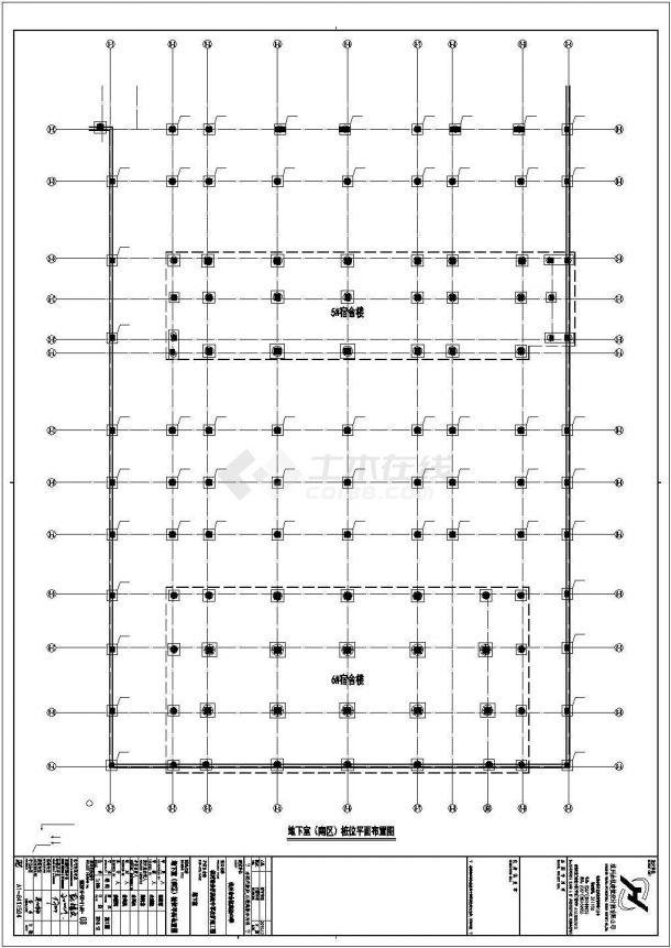 某地下单层钢筋混凝土框架结构地下室建筑设计施工CAD图纸-图一